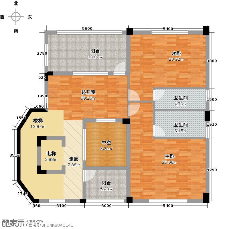 星际半岛137.01㎡a2三层户型2室2卫