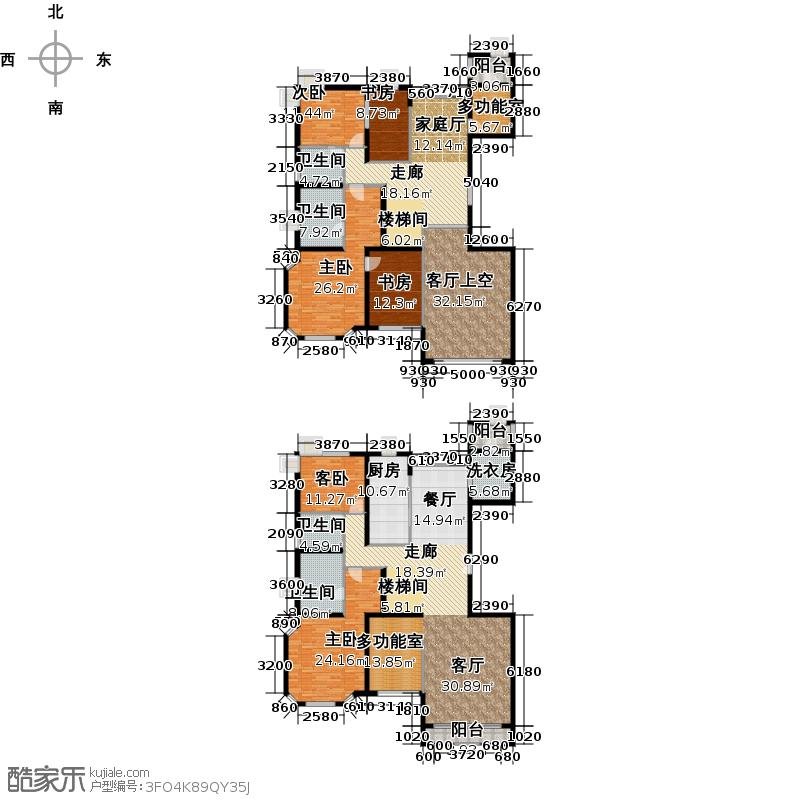78㎡10#11#a跃层户型6室4卫1厨  北京 天鹅湾 套内面积:294.