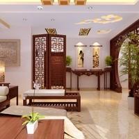 170平米现代中式风格装修,造型雕花门配搭仿玉石电视背景墙,中式韵味图片