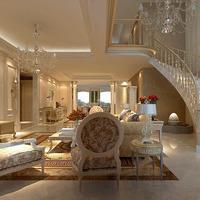 欧式复式大户型装修,餐厅,大厅,客厅一个都不能少,大理石打造欧式的图片