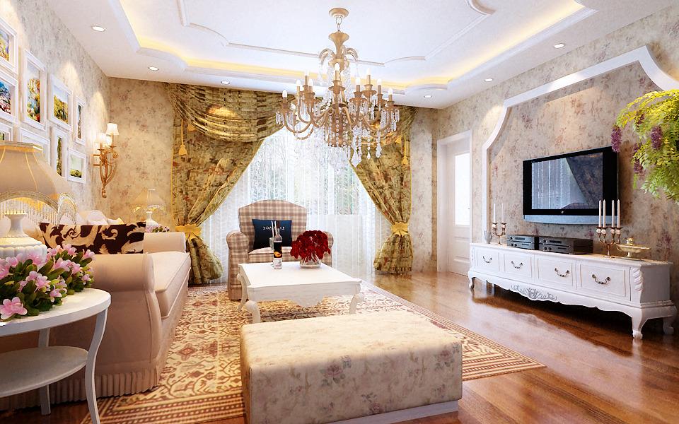 15 张韩式客厅窗帘装修效果图图片