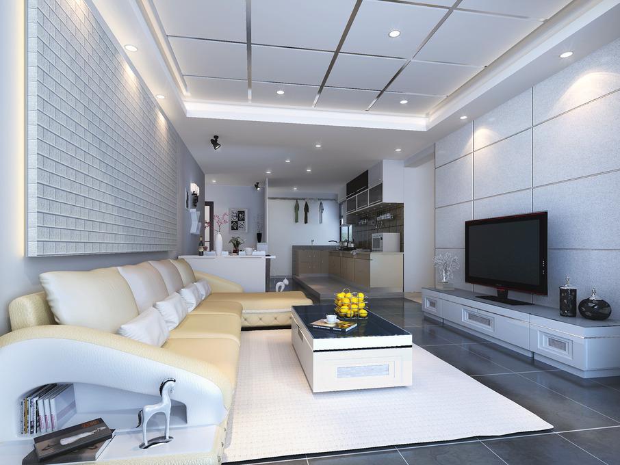 开放式厨房 创意沙发背景墙,现代二居黑白格调,华丽登场图片