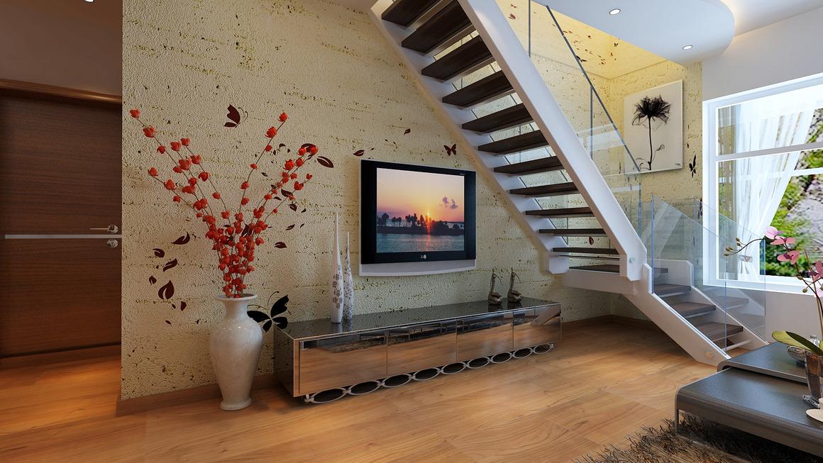 楼梯间变身电视墙,空间巧利用让新家亮起来,复式虽小