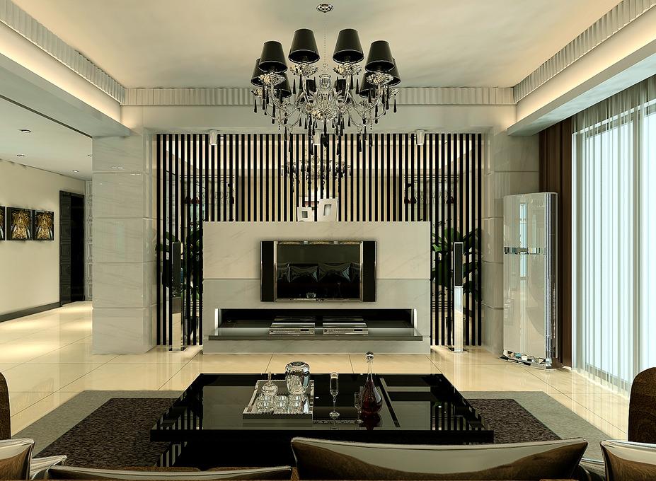 现代风格二居室装修,石材搭建电
