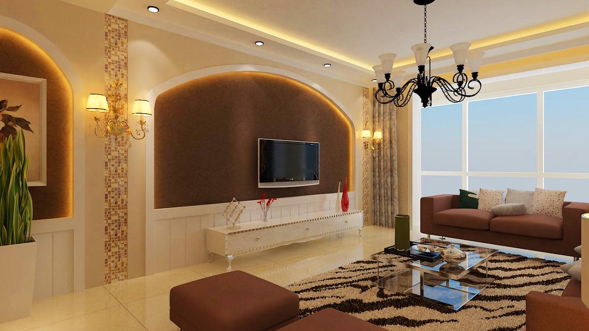棕色地板砖客厅效果图棕色客厅装修效果图图片14