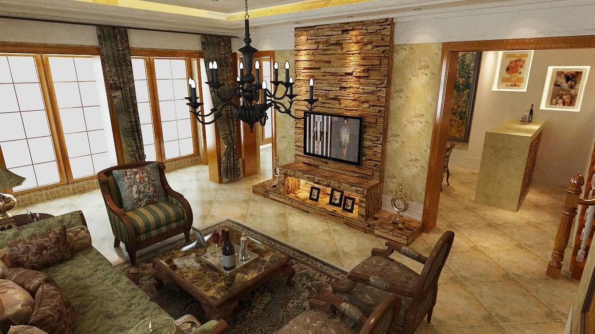 美式客厅背景墙装修效果图大全2013图片_美式客厅背景图片