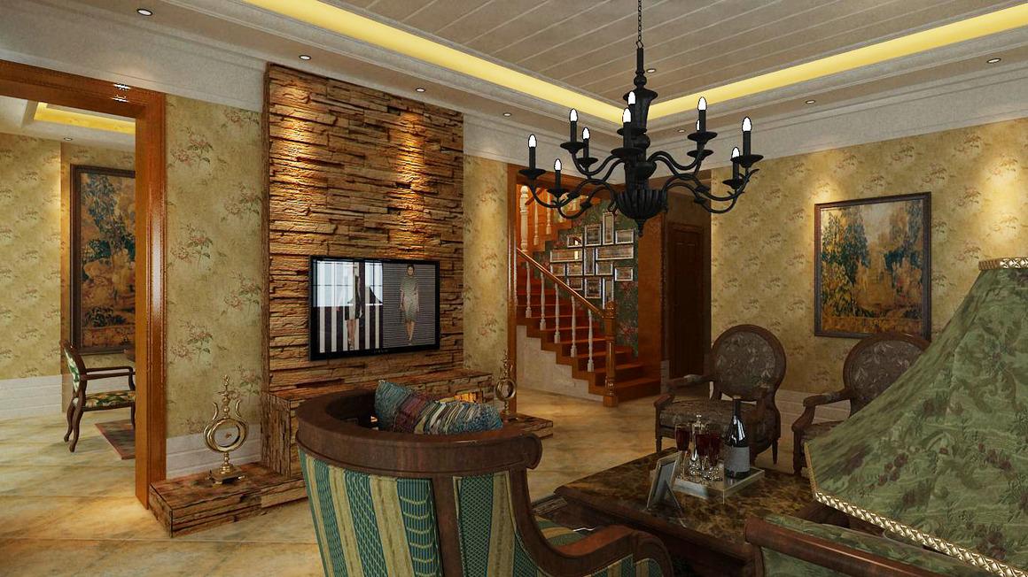 美式别墅背景墙装修效果图大全2013图片_美式别墅背景图片