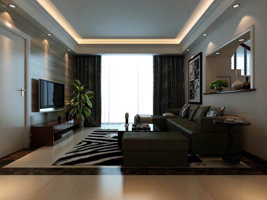 现代风格复式装修,隔断式沙发背景墙充分利用房屋空间,房门结合电视墙