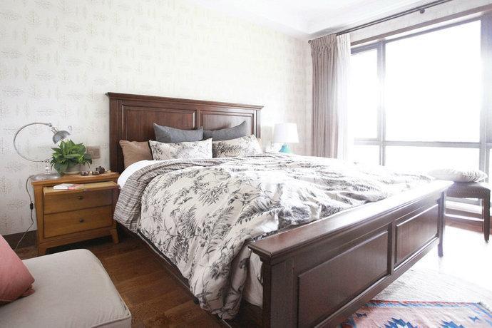 150平四居美式混搭卧室壁纸装修效果图