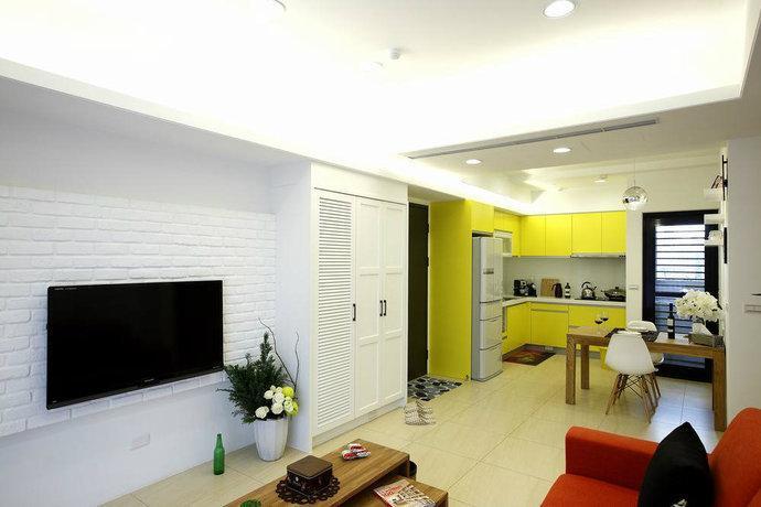 marine ii (碧海蓝天) 中国风,中式-清华城 66平现代二居室客厅电视墙