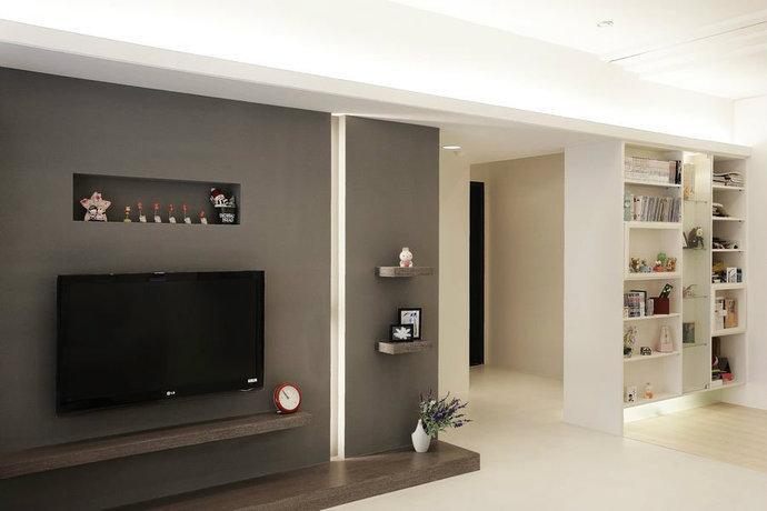 95平黑白简约客厅电视背景墙装设计果图
