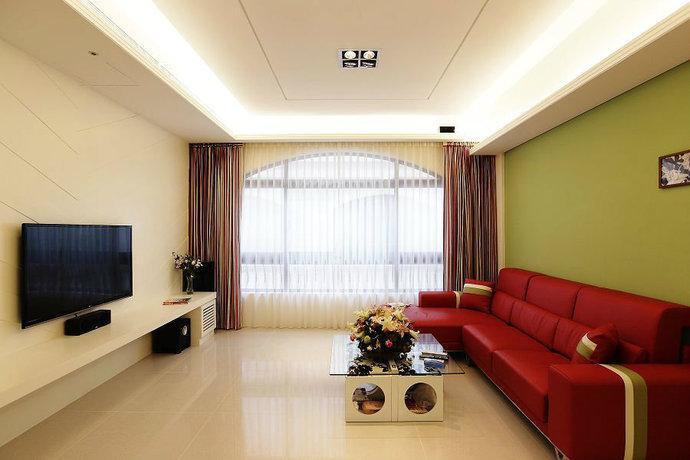 211平米复式混搭客厅背景墙装修效果图