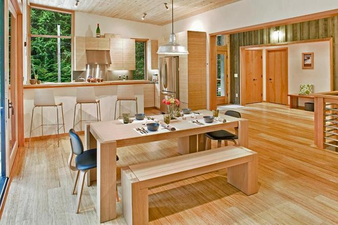 将厨房装饰成北欧风格的原木色酒吧图片