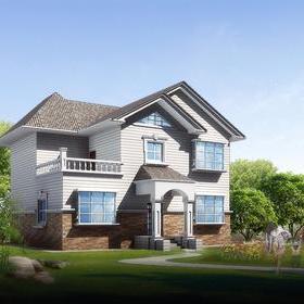 二层有平台的农村自建房设计图片