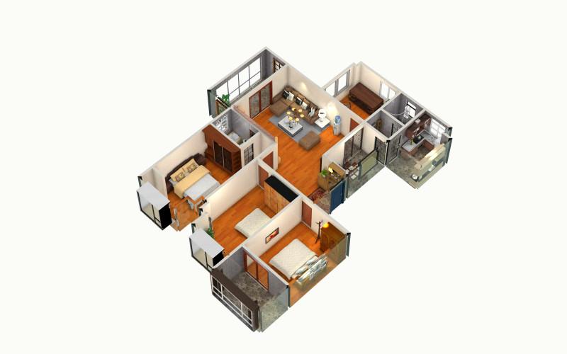【131402】方案的创意家装设计俯视图