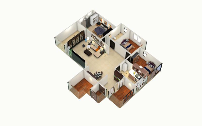 【锦秀府邸装修设计方案】方案的创意家装设计俯视图