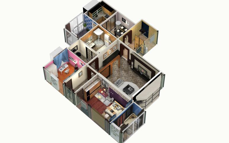一个女孩住的房子-俯视图
