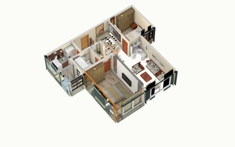 海上国际城装修设计方案-俯视图