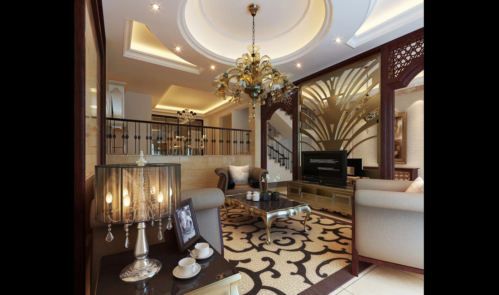 欧式客厅--高清效果图-欧式