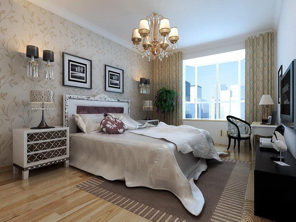 主卧床头以暖色素雅的壁纸做背景,使整个空间显得温馨,典雅.图片
